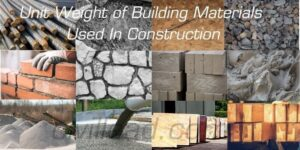 Unit weight of Building Materials