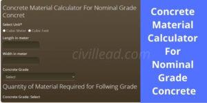 Concrete Material Calculator For Nominal Grade Concrete