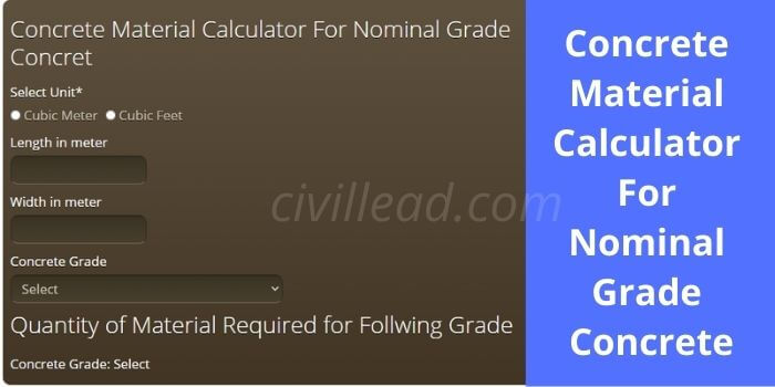 Concrete Material Calculator For Nominal Grade Concrete